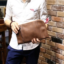 2016 Unisex Style Women Men Handbag Envelope Clutch Brown Retro Pu Leather IPAD Bag