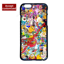 Sticker Bomb Adventure Time Cover Case for iPhone 4 4S 5 5S SE 5C 6 6S 7 Plus iPod Touch 5 LG G2 G3 G4 G5 G6 Sony Z2 Z3 Z4 Z5
