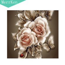 Merrken 5d Diy diamond painting cross stitch Vintage rose diamond embroidery diamond mosaic home decor 35*35cm
