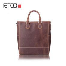 AETOO Retro Imported Crazy Horse Leather Handle Handle Men's Headband Cow Leather Shoulder Skirt A4 Big Bag(China)