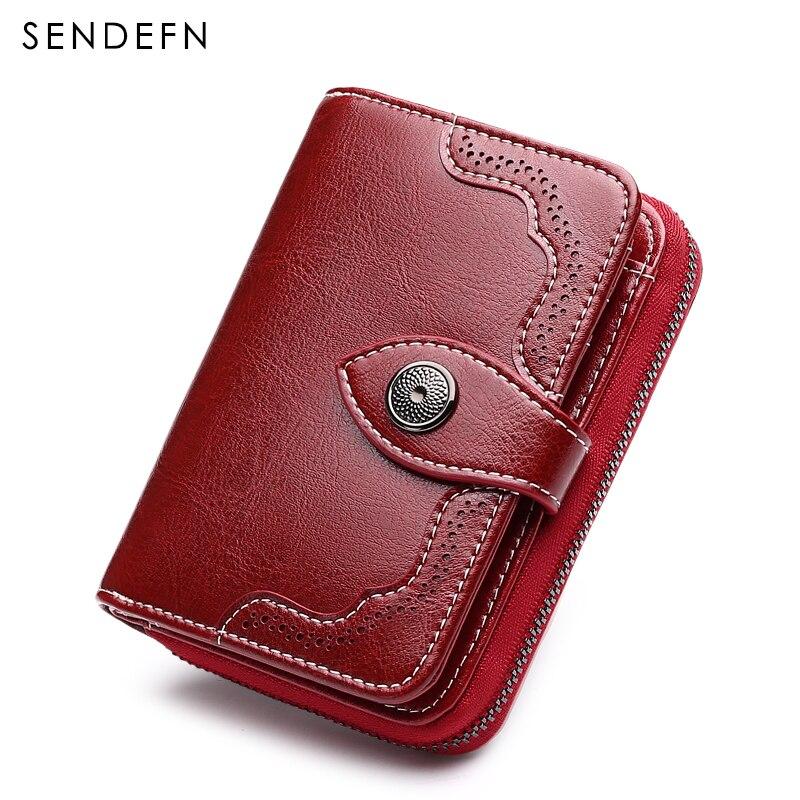 Sendefn fashion brand women wallets split leather short design lady retro zipper purse<br>