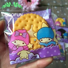 500pcs Wholesale Cute purple Gemini Self-adhesive Snack Cookie Baking Plastic Bags Christmas Gift and Candy Packaging Bags BZ177(China)