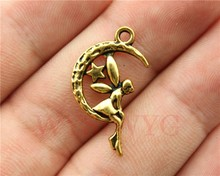 WYSIWYG 10pcs 25*14mm Antique Gold Moon And Star Angel Charms