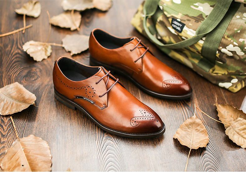 Fashion Mens Oxfords Shoes,Breathable Genuine Leather Mens Dress Flats,Mature Leisure Brogue Footwear,New Designers Office Flats<br><br>Aliexpress