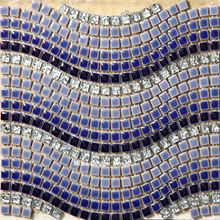 Art Design Blue White Grey Wave Ceramic Mixed Electroplating Crystal Glass Mosaic Tiles Bathroom Bedroom Floor Wall Stickers(China)