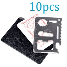 10PCS/LOT New Multi Tools 11 in 1 Multifunction Outdoor Hunting Survival Camping Pocket Military Credit Card Wallet Knife Tool(China)