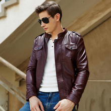 Buy Men's Winter PU Leather Thick Fleece Liner Jacket Male Slim Leather Motocycle Cool Coat Stand Collar Zipper Thick Thermal Jacket for $40.59 in AliExpress store