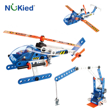 NUKied 3 In 1 SWAT Team DIY Model Buliding 76 Block Toy Police Helicopter Plane Crane Aircraft Kids Educational Enlighten Bricks(China)