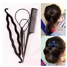 4pcs/set Women Hair Brush Twist Styling Clip Stick Bun Maker Braid Tool Hair Accessories Braider DIY Hairstyle #721