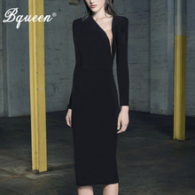 Buy Bqueen 2017 New Elegant Black Autumn Women Bandage Dress Sexy Asymmetrical Neck Sheath Full Sleeve Midi Lady Dress Vestidos for $40.96 in AliExpress store