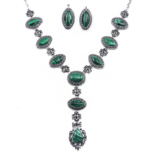 Women Vintage Jewelry Sets Color Green Malachite Stone Y Necklace and Earrings Set Jewelry Cheap Costume Jewelry nkem50(China)