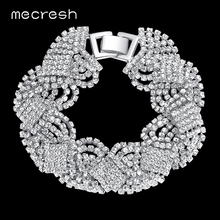 Buy Mecresh Crystal Bracelets Women Silver/Gold-Color Twist Pulseras 2017 Fashion Bridal Wedding Engagement Jewelry SL076 for $5.33 in AliExpress store