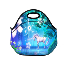 Unicorn Neoprene Lunch Bag Thermal Insulated Lunch Tote Bag For Women Kids Food Bag Tote Cooler lunch Bag Portable Lunch Box(China)
