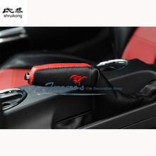 Free shipping car styling sticker cowhide Hand brake lever set cover gear cover for 2015 2016 new ford mustang(China)
