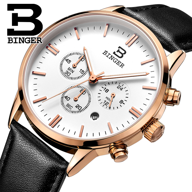 2017 Switzerland relogio masculino BINGER Chronograph Men Watches Sports waterproof Quartz Watch Luxury Brand Watch Men BG9201-1<br>