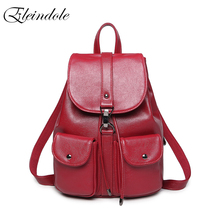 Eleindole School Bag for Women PU Leather Waterproof Preppy Girls Backpacks Solid Soft Korean Style 2018 New Girl School Bags(China)