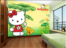 Custom papel DE parede infantil,cartoon lotus leaf cat Kitty murals for children's room boy girl room wall waterproof wallpaper(China)