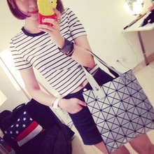 Women Sexy T Shirt Crop Tops Striped Short Sleeved O Neck Club Wear Top(China)