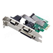 2 Ports RS-232 Serial COM & 1 Port Printer Parallel LPT Port to PCI-E Adapter