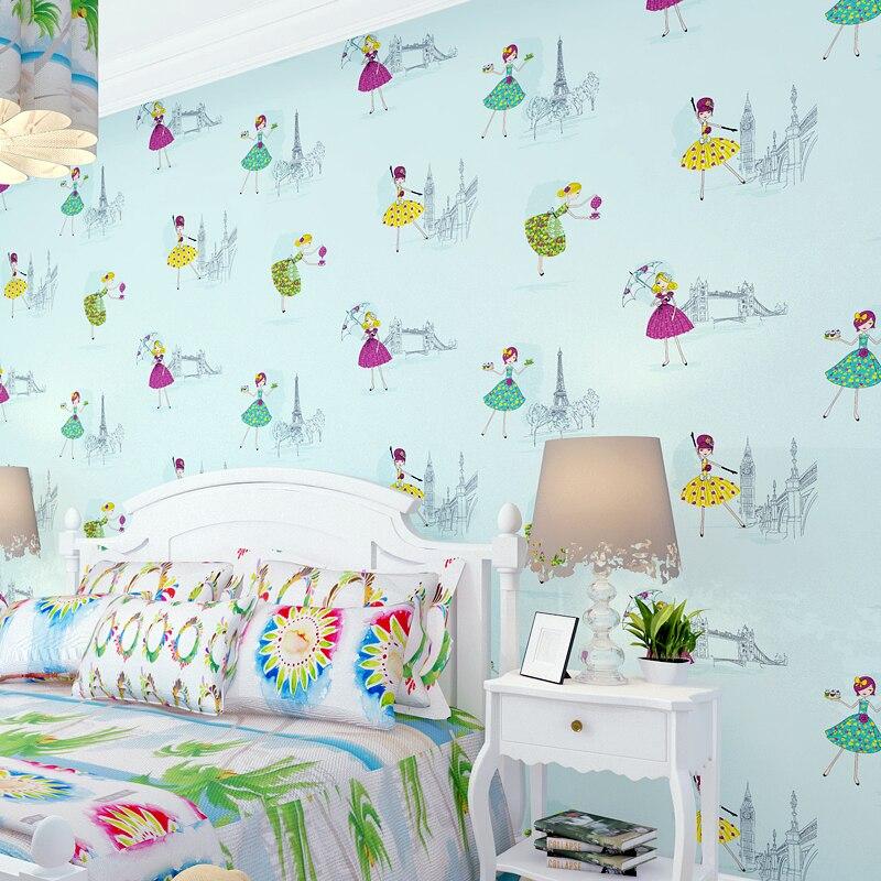 Modern Cartoon Girl Dance Princess Wallpaper Roll Background Non-woven Wall Paper For Children Room Home Decorative  WP213<br>