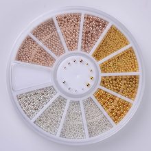 1 Box 3D Nail Decoration Steel Bead 0.8mm/1.0mm/1.2mm/1.5mm Mixed in Wheel Manicure DIY Nail Art Decorations