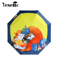 Yesello Cartoon Cute Cat Three Folding Umbrella 8 Rib Pongee Wind Resistant Frame For Women Girl