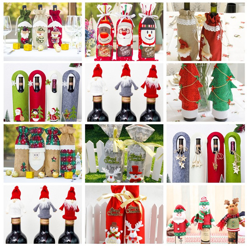Christmas Decorations For Home Kitchen Wine Bottle Decor Set Santa