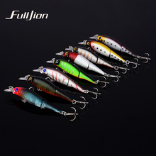 Fulljion 1pcs Fishing Lures Wobblers Minnow Artificial Baits Treble Hooks Crankbait Fishing Tackle 2 Sections Lures 9.2cm 7.5g(China)