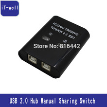 iT-well USB 2.0 Hub 2 Port/4 Port HUB Manual Sharing Switch Adapter Box Per Scanner Stampante 2/4 computers share a printer(China)