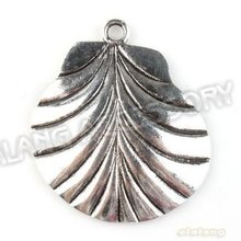 New Wholesale 18pcs/lot Shell Leaf Alloy Antique Silver Plated Jewelry Finding Fit Jewerly DIY 44*38*3mm 142853