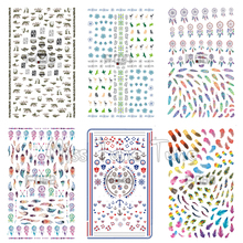 1 Sheet Nail Art 3D Stickers Premium Quality Nail Decoration Nail Tips Decals Sailor Feather Tribal Dreamcatcher Flower Designs(China)
