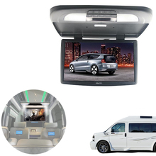 Full HD 15.6 inch Car Roof Mount Overhead Monitor for Car Ceiling Touch Button Video Player Screen FM HDMI IR with DVD