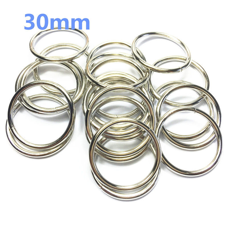 11-30mm Non Welded Metal O Ring Nickel&Black Nickel Plated Backpack Collar Harness Rings Bag Parts Accessories