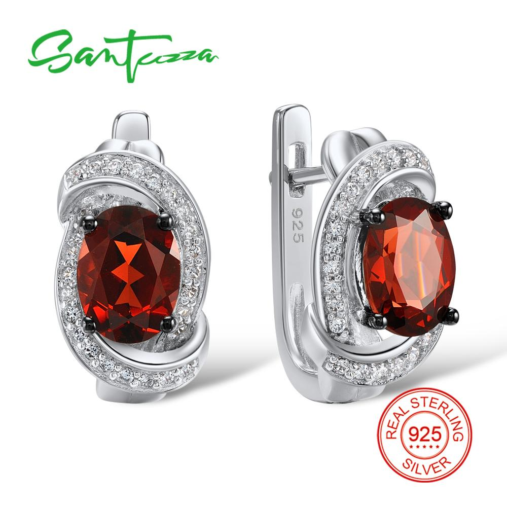 SANTUZZA Silver Earrings For Women 925 Sterling Silver Stud Earrings Silver 925 with Stones Cubic Zirconia brincos Jewelry