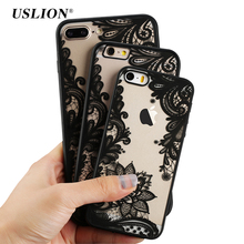 USLION Retro Rendas Flor Casos de Telefone Para Apple iPhone 7 6 6 s 5 5S SE Plus Caso Capa Mandala Rígido PC Tampa Traseira Transparente Coque(China)