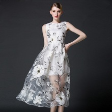 New Classic Women Long Dress Party Flower Print Organza Dresses Sweet Ladies Clothes ssd067(China)