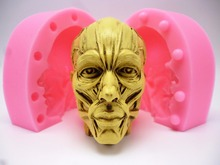 Muscle Halloween skull cutlery Restaurant Bar non stick silicone mold fondant cake decoration Soap mold