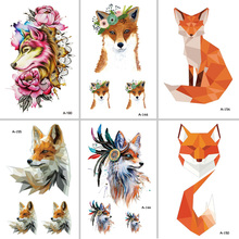 Wyuen Hot Design Fox Temporary Tattoo for Women Body Art Animal 9.8X6cm Waterproof Tattoo Sticker A-091 Fake Tattoo(China)