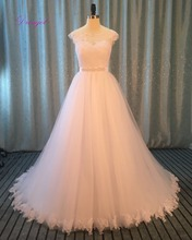 Buy Dreagel Graceful Tulle Appliques Beaded Sashes A-line Wedding Dress 2017 Vintage Scoop Neck Robe De Mariage Bride Gown Hot Sale for $191.99 in AliExpress store
