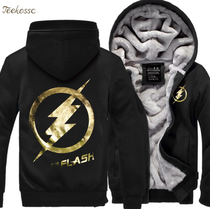 Anime Justice League The Flash Men Sweatshirts Hoodies 2018 New Winter Thick Mens Brand Hoodie Streetwear Hip Hop Ches Coat