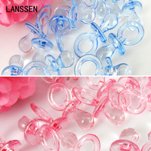50pcs Small Diamond Cut Pacifiers Bead Baby Shower Favors Blue Pink For Party Table Game Decorations 11 x 23mm(China)