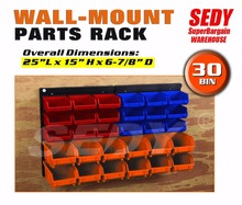 30 PC Bin Wall Mounted Storage Solution Rack Nuts & Bolts Organizer Small Parts 97904