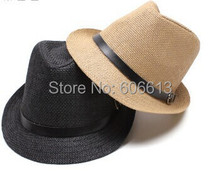 Unisex Women Men Casual  Beach Sun Straw Panama Jazz Hat Cowboy Fedora Cap , 6PCS/LOT Free shipping