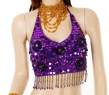 Belly Dance Bead Sequins Top Bra 15 Colors(China)