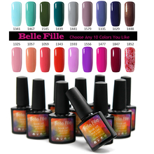 BELLE FILLE Color Nail Gel Polish UV Gel Nail Polish vernis beige nude Soak-off Gel Polish Any 10 Color From Whole Set 237 Color(China)