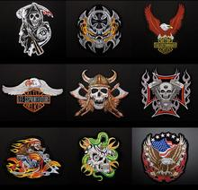 Large Eagle Flame Skull Head Harley Motorized Embroidery Badge Cloth Stickers Back Patch DIY Decoration Sticker AC572