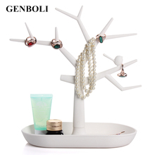 GENBOLI Multifunctional Tree Branch Shape White Color Jewelry Display Earring Bracelet Necklace Ring Display Stand for Earrings