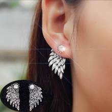 TOMTOSH 2017 Women's Angel Wings Stud Earrings Rhinestone Inlaid Alloy Ear Jewelry Party Earring Gothic Feather Brincos Gifts(China)