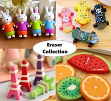 1pack/lot lovely Pencil Eraser rubber Collection fashion gift children Puzzle Toy Student Learning Office Stationery(China)