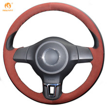 Mewant Black Genuine Leather Brownness Suede Car Steering Wheel Cover for Volkswagen Golf 6 Mk6 VW Polo MK5 2010-2013